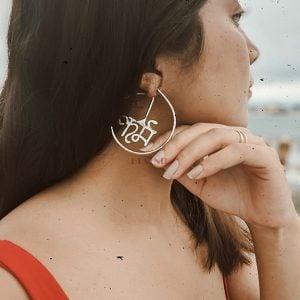 Handcrafted Karma Silver Hoop Earrings Lifestyle Image