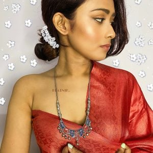 Handpainted Jaipuri Meenakari Crescent Pendant Silver Oxidised Necklace Lifestyle Image