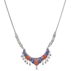 Handpainted Jaipuri Meenakari Crescent Pendant Silver Oxidised Necklace Main Image