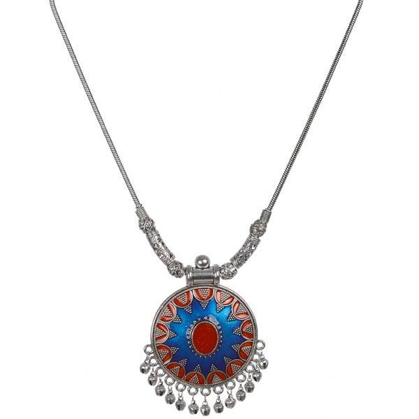 Handpainted Jaipuri Meenakari Round Pendant Silver Oxidised Necklace Main Image
