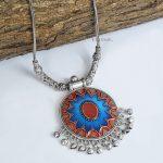 Handpainted Jaipuri Meenakari Round Pendant Silver Oxidised Necklace