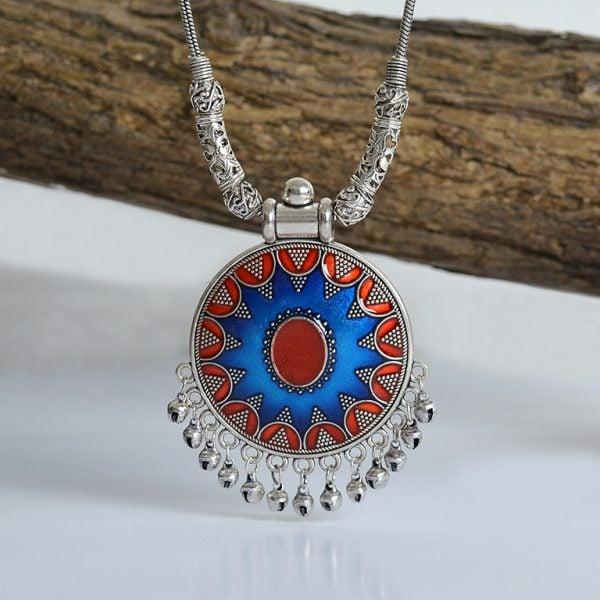 Handpainted Jaipuri Meenakari Round Pendant Silver Oxidised Necklace On Wooden Log