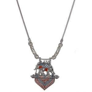 Handpainted Meenakari Elephant Motif Silver Oxidised Necklace Main Image