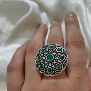 Oxidised Silver Green Stone Studded Ring – Adjustable Lifestyle Image