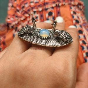 Peacock Motif Statement Ring – Adjustable Lifestyle Image
