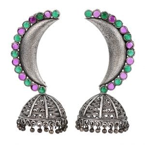 Silver Lookalike Handcrafted Brass Chandra Jhumki Earrings Main Image