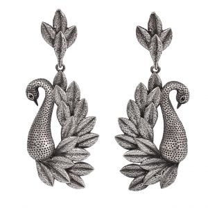 Silver Lookalike Handcrafted Brass Dangler Earrings Main Image