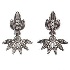 Silver Lookalike Handcrafted Brass Earrings Main Image