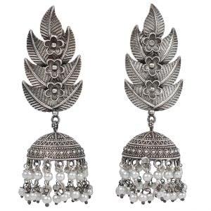 Silver Lookalike Handcrafted Brass Leaf Pearl Jhumki Earrings Main Image