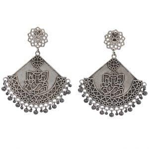 Silver Lookalike Handcrafted Brass Mahakay Dangler Earrings Main Image