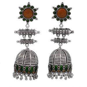 Silver Lookalike Handcrafted Brass Meenakari Pushp Jhumki Main Image