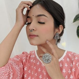 Silver Lookalike Handcrafted Brass Shoor stud Earrings Lifestyle Image