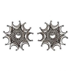Silver Lookalike Handcrafted Brass Tejas Stud Earrings Main Image