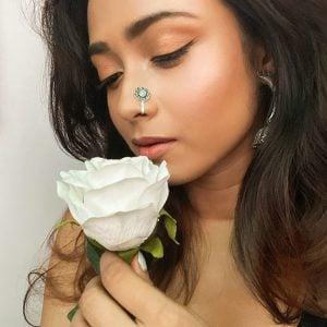 Silver Oxidised Round White Stone Clip On Nose Ring Lifestyle Image
