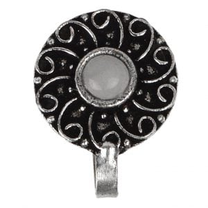 Silver Oxidised Round White Stone Clip On Nose Ring Main Image