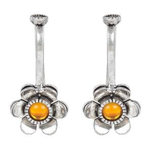 Yellow Stone Flower Clip On Earrings Main Image