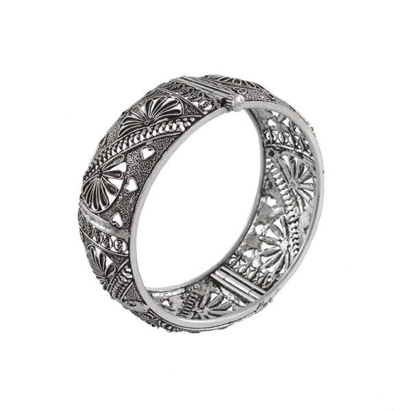 Silver Plated Brass Bangle – Adjustable Main Image
