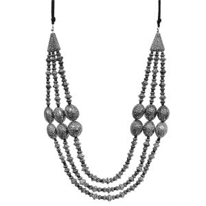 Antique Silver Oxidised Plated Layered Dholki Necklace Main Image