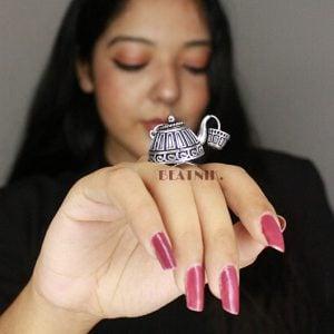 Antique Silver Plated Ketli/Kettle Statement Ring – Adjustable Lifestyle Image