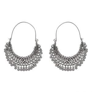 Boho Afghani Silver Oxidised Chandbali Earrings Main Image