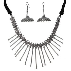 Brass Spiked Silver Oxidised Choker Necklace Earrings Set Main Image