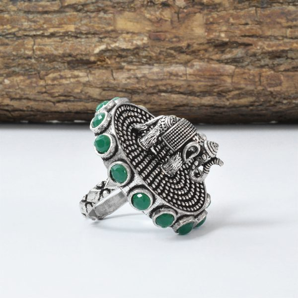 Gajan Handcrafted Brass Ring – Adjustable On Wooden Log