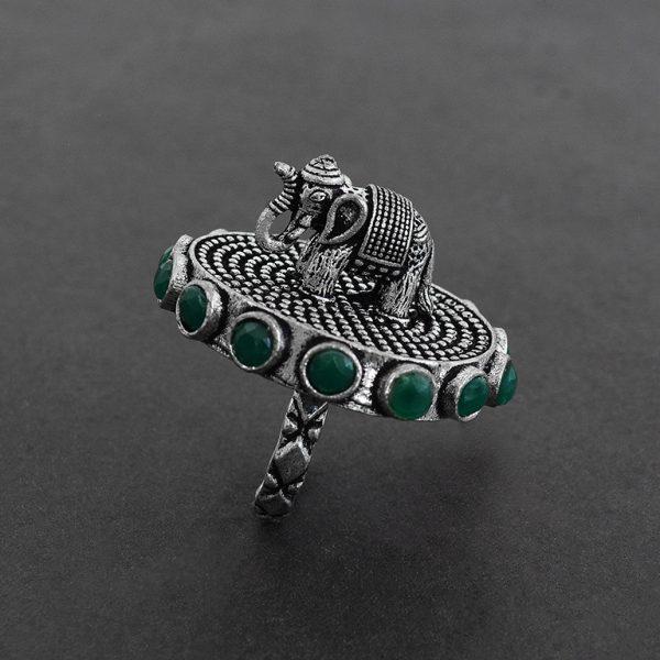 Gajan Handcrafted Brass Ring – Adjustable On Black Background