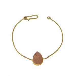 Gold Matte Plated Druzy Stone Dainty Chain Bracelet – Adjustable Main Image