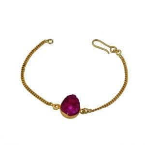Gold Matte Plated Druzy Stone Dainty Chain Bracelet – Adjustable (Fuchsia) Main Image
