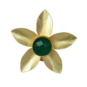 Gold Matte Plated Petals Green Stone Ring – Adjustable Main Image
