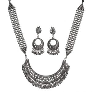 Handmade Brass Silver Oxidised Necklace Earrings Set Main Image