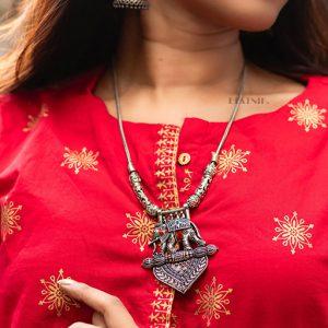 Handpainted Meenakari Elephant Motif Silver Oxidised Necklace Lifestyle Image