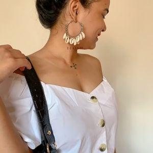 Oxidised Silver Ghungroo Shell Hoop Earrings Lifestyle Image