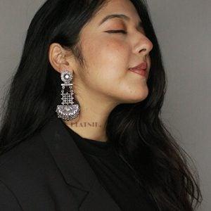 Oxidised Silver Hanging Earrings Lifestyle Image