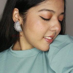 Oxidised Silver Semi Shaped Stud Earrings Lifestyle Image