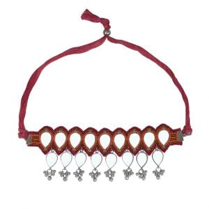 Pink Embroidered Mirror Choker Main Image