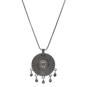 Silver Oxidised Plated Ghungroo Round Pendant Chain Necklace Main Image