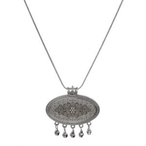 Silver Oxidised Plated Oval Ghungroo Pendant Chain Necklace Main Image