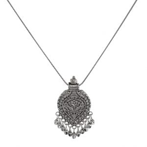 Silver Oxidised Plated Pendant Chain Necklace main Image