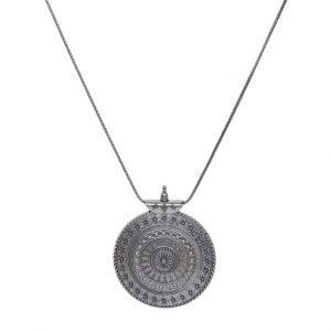 Silver Oxidised Plated Round Pendant Chain Necklace Main Image