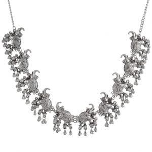 Silver Oxidised Plated Statement Hasti Motif Choker Necklace Main Image