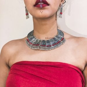 Silver Oxidised Red Stone Choker Earrings Necklace Set Lifestyle Image