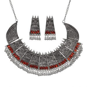 Silver Oxidised Red Stone Choker Earrings Necklace Set Main Image
