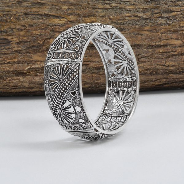 Silver Plated Brass Bangle – Adjustable On Wooden Log