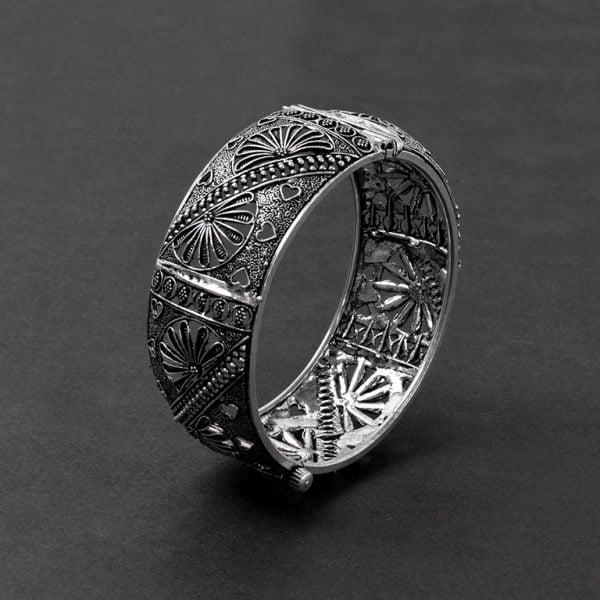 Silver Plated Brass Bangle – Adjustable On Black Background