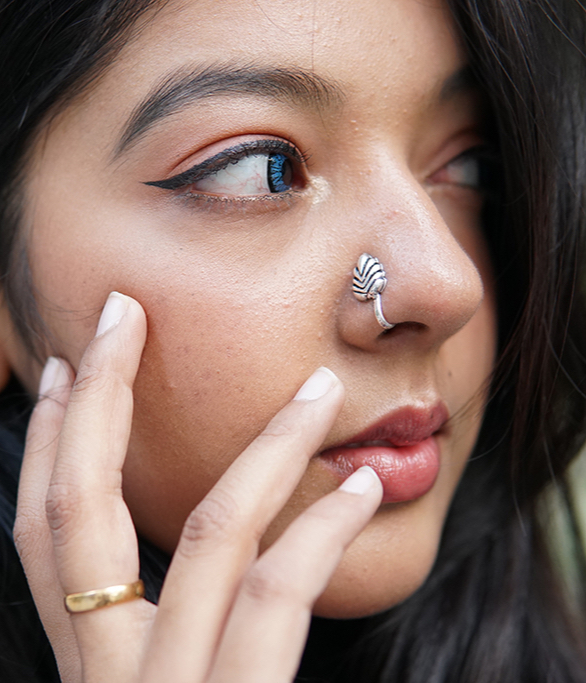 Silver Clip On Nose Pin – Leaf Lifestyle Image