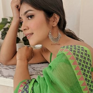 Boho Afghani Silver Oxidised Chandbali Earrings Lifestyle Image