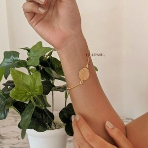 Gold Matte Plated Dainty Chain Bracelet Lifestyle Image