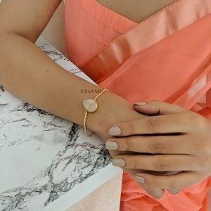 Gold Matte Plated Druzy Stone Dainty Chain Bracelet – Adjustable Lifestyle Image