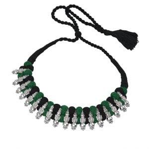 Green Black Pattva Thread Silver Oxidised Choker Main Image